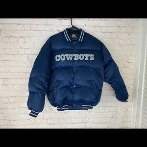 Vintage Starter Dallas Cowboys Down Coat Puffer Bomber Jacket